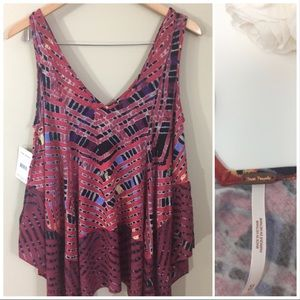 Free People Red Mosaic Flare Sleeve